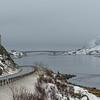 View of empty coastal road , Lofoten, Nordland, Norway