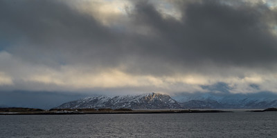 Scenic view of sea with mountain range in the background, Bodo, Nordland, Norway