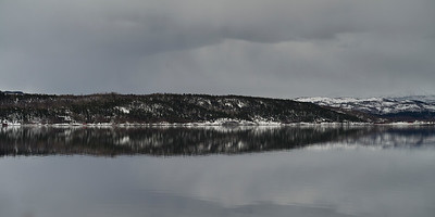 Reflection of mountain in water, Saltdal Fjord, Norway