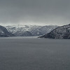 View of sea with mountains, Saltdal Fjord, Norway