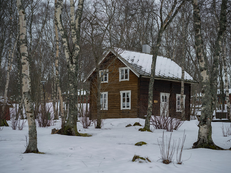 Wooden house in snow, Norway