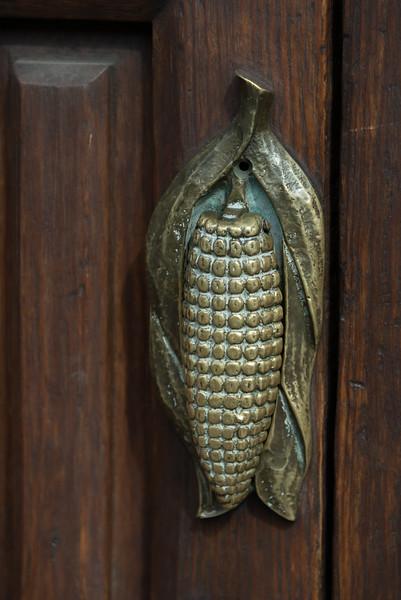 Close-up of a Corn Cob doorknob, Zona Centro, San Miguel de Allende, Guanajuato, Mexico