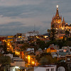 Elevated view of buildings in city at dusk, Zona Centro, San Miguel de Allende, Guanajuato, Mexico