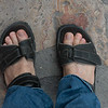 Top view of sandals on a man's feet, San Miguel de Allende, Guanajuato, Mexico