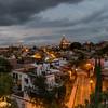 Elevated view of buildings in the city at dusk, Zona Centro, San Miguel de Allende, Guanajuato, Mexico
