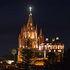 Parish church at night, Zona Centro, San Miguel de Allende, Guanajuato, Mexico