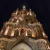 Low angle view of Parish church at night, Zona Centro, San Miguel de Allende, Guanajuato, Mexico