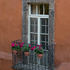 Flower pots on a balcony, Zona Centro, San Miguel de Allende, Guanajuato, Mexico