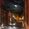 View of a street at night, San Miguel de Allende, Guanajuato, Mexico