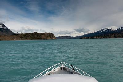 Boat in the Lake Argentino, Los Glaciares National Park, Santa Cruz Province, Patagonia, Argentina