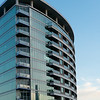Low angle view of a downtown condo building, Dallas, Texas, USA