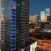 Modern glass buildings at night, Dallas, Texas, USA