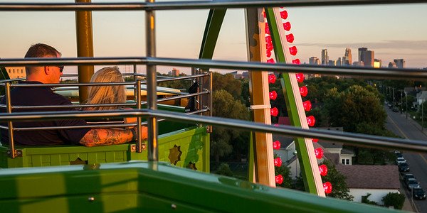 Couple on ferris wheel at Betty Danger's Country Club, Minneapolis, Hennepin County, Minnesota, USA