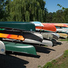 Stack of canoes in park, Minneapolis, Hennepin County, Minnesota, USA