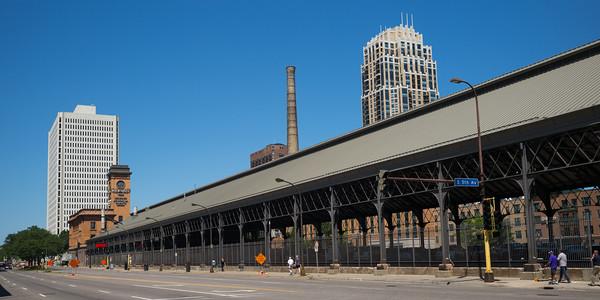 Buildings along street in Downtown Minneapolis, Hennepin County, Minnesota, USA