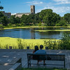 Couple sitting on bench by lake in park, Minneapolis, Hennepin County, Minnesota, USA