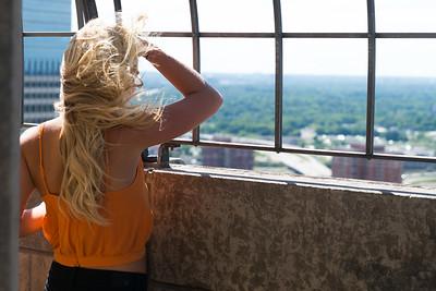 Woman looking at view through railings, Minneapolis, Hennepin County, Minnesota, USA