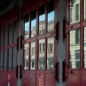 Closed exterior doors of a building, Seattle, Washington State, USA