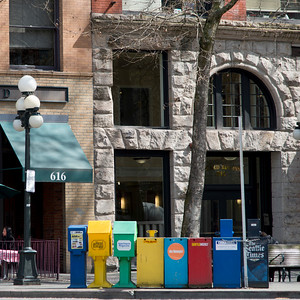 Newspaper stands in Seattle, Washington State, USA