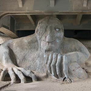 Sculpture under the bridge, Fremont Troll, Aurora Bridge, Fremont, Seattle, Washington State, USA