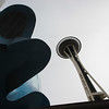 Low angle view of EMP Museum and Space Needle, Seattle, Washington State, USA