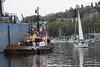 Tugboat moored at dock, Lake Union, Wallingford, Seattle, Washington State, USA