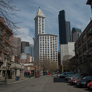 Buildings in a city, Smith Tower, Pioneer Square, Seattle, Washington State, USA
