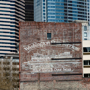 Mural on a wall at Pioneer Square, Seattle, Washington State, USA
