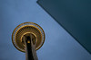Low angle view of Space Needle, Seattle Center, Seattle, Washington State, USA