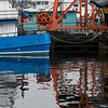 Boat moored at dock, Lake Union, Wallingford, Seattle, Washington State, USA
