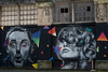Giant mural posters on a street, Pioneer Square, Seattle, Washington State, USA