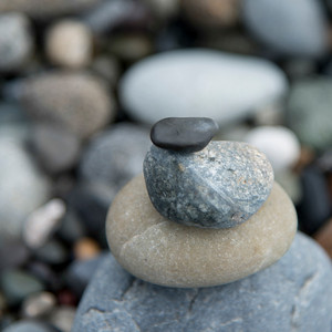 Close-up of stack of stones, Deception Pass State Park, Oak Harbor, Washington State, USA