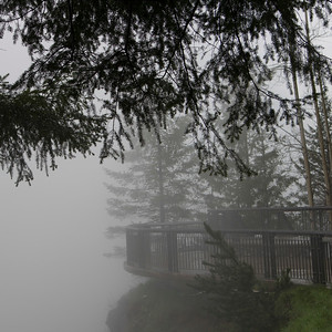 Fog over an observation point, Snoqualmie Falls, Snoqualmie, Fall City, Washington State, USA