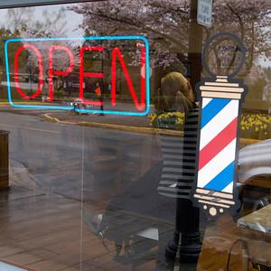 Open sign at Barbar Shop, Snoqualmie, Washington State, USA