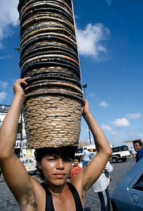 Kayapo tribal man selling hand woven basket in the city area of Brazil for income generation Kayapo, Brazilian Amazon.
