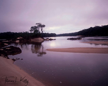 Sunset at the Apaporis River in the Vaupes area. Makuna, Eastern Colombia Amazon, Vaupes region.