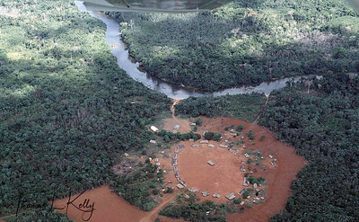 Aerial view of Kayapo dwellings. Kayapo, Brazilian Amazon.