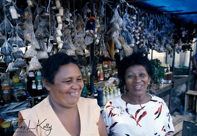 Kayapo women selling medicinal herbs in Belem Market area. Kayapo, Brazilian Amazon.