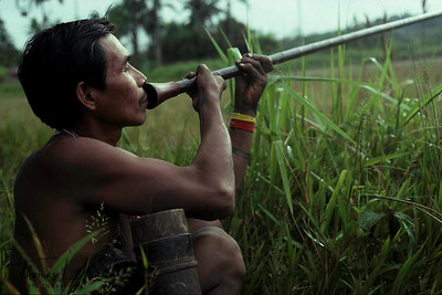 A Makuna hunter with a blow gun. Makuna, Vaupes Basin, Eastern Colombia Amazon.