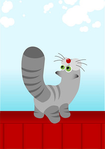 striped grey cat on red roof