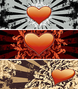Color Saint Valentine's banners with flowers and heart shapes