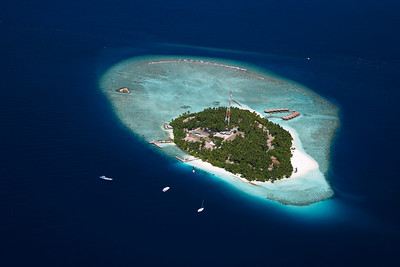 aerial view of tropical maldives island