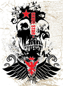 gothic style image with a skull and russian style logo