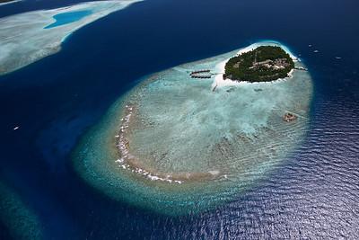 aerial view of maldivian island fihalhohi
