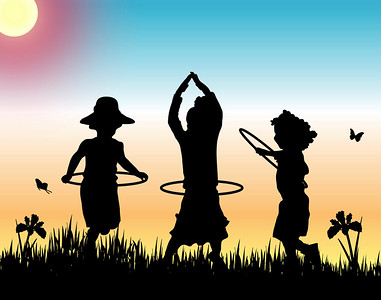silhouettes of three girls playing hula hoops on sunset background