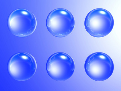 blue soap-bubbles with the specks of light and reflections on a gradient blue background