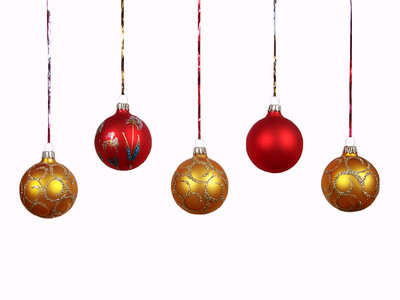 Christmas balls on a white background.
