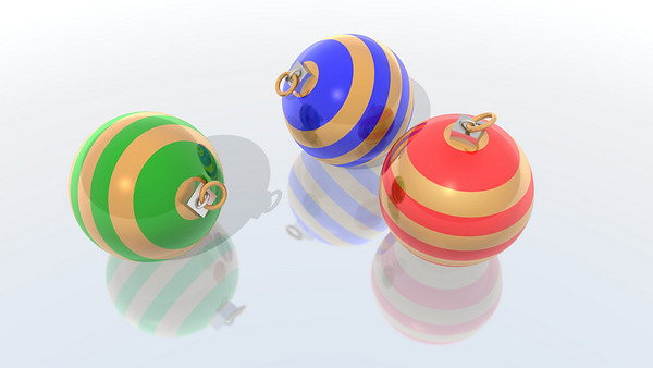 a 3d render of three christmas balls
