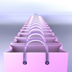 Line of shopping bags ready to be filled with fashion stuff. Clipping path included for easily remove background