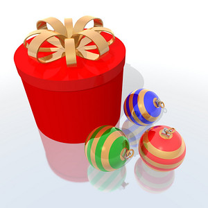 a 3d render of gift and christmas balls